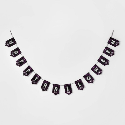 Happy Halloween Paper Banner Garland Black/Purple - Hyde & EEK! Boutique™