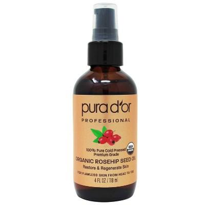 Pura d'or 100% Pure Organic Rosehip Seed Oil - 4 fl oz