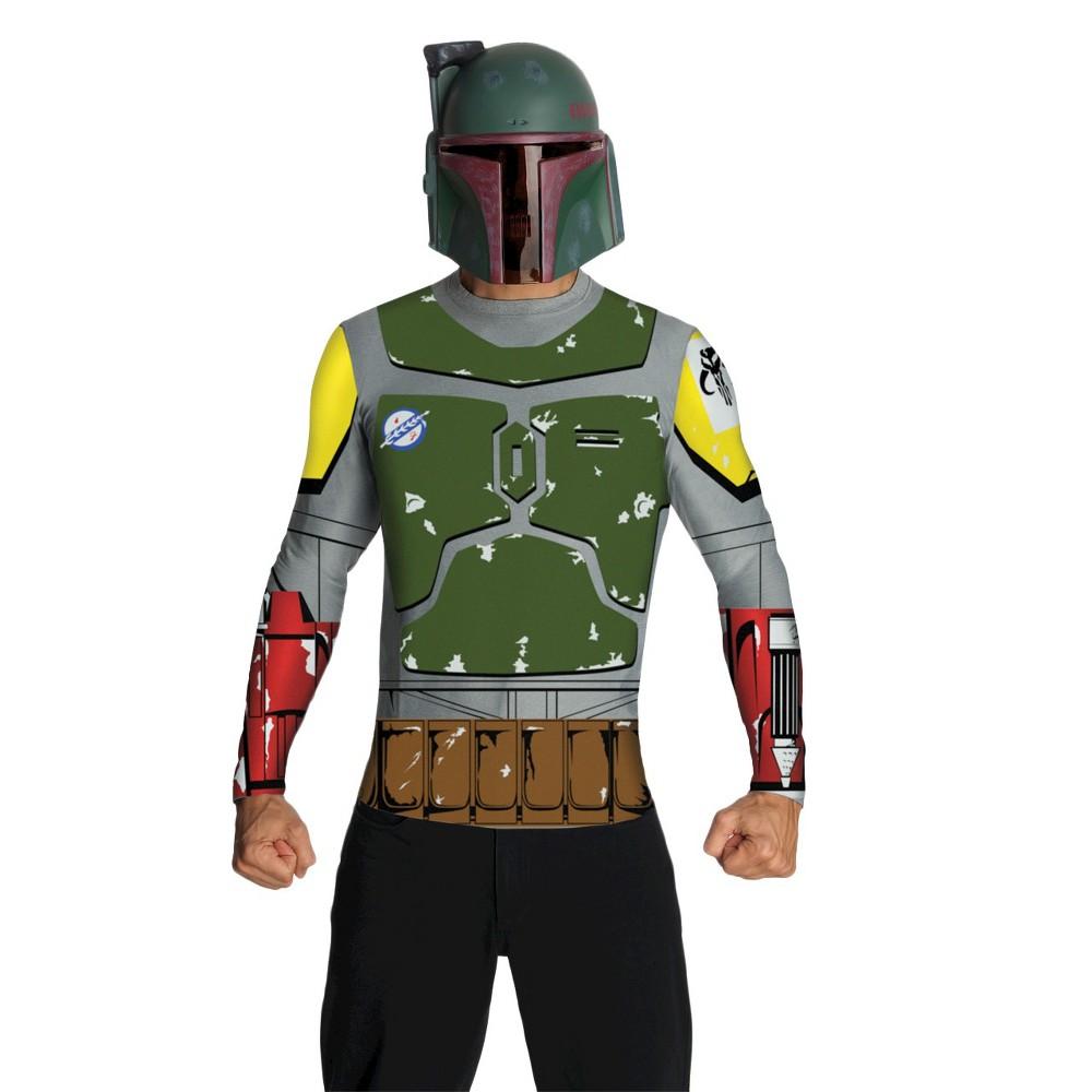 Star Wars Men's Boba Fett Top Cape Mask Costume Medium, Multicolored
