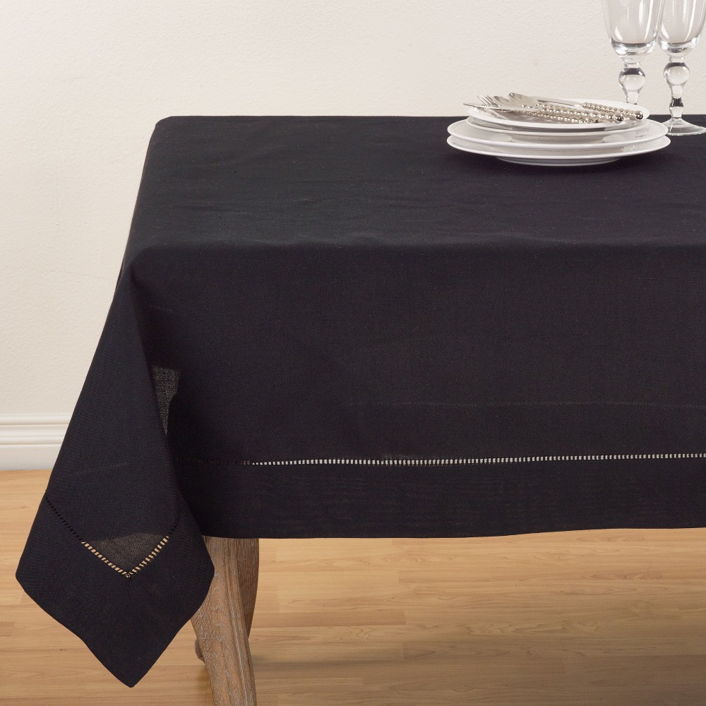 72 34 Hemstitch Border Design Tablecloth Black Saro Lifestyle