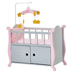 Olivia's Little World - Baby Doll Furniture - Nursery Crib Bed with Storage (Gray Polka Dots)