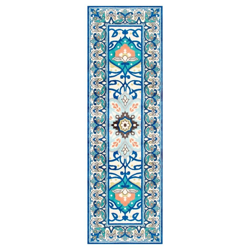 Blue Solid Loomed Runner - (2'6x8') - nuLOOM