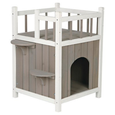 Tixie Pet Wooden Cat Home With Balcony - Gray