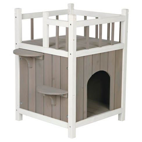 Tixie Pet Wooden Pet Home With Balcony - Gray - image 1 of 5