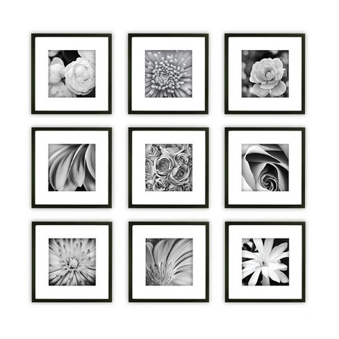 Gallery Perfect 9 Piece Wall Frame Set - Black : Target
