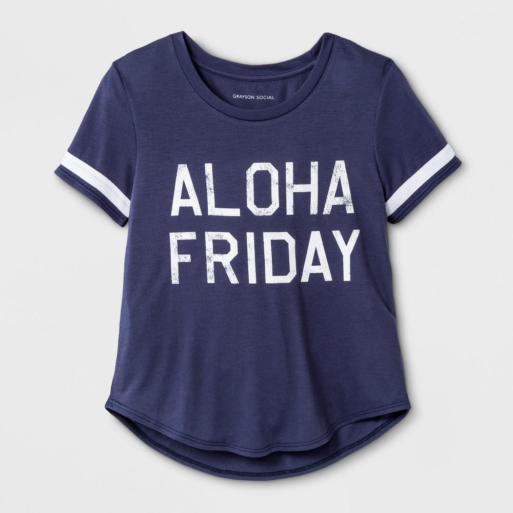 Grayson Social Girls' 'Aloha Friday' Graphic Short Sleeve T-Shirt - Blue XL