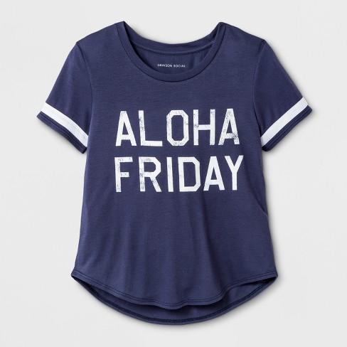 Grayson Social Girls' 'Aloha Friday' Graphic Short Sleeve T-Shirt - Blue