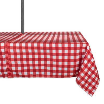 "84""x60"" Check Outdoor With Zipper Tablecloth Red/White - Design Imports"