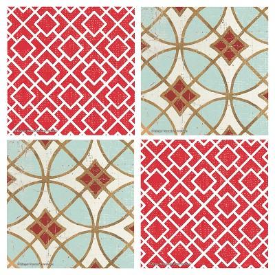 Thirstystone Red Lattice & Garden Tile 4 Piece Occasions Coaster Set