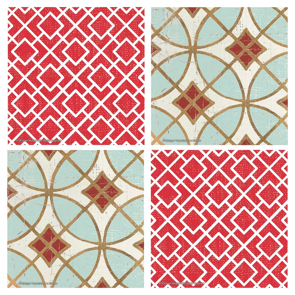 Image of Thirstystone Red Lattice & Garden Tile 4 Piece Occasions Coaster Set