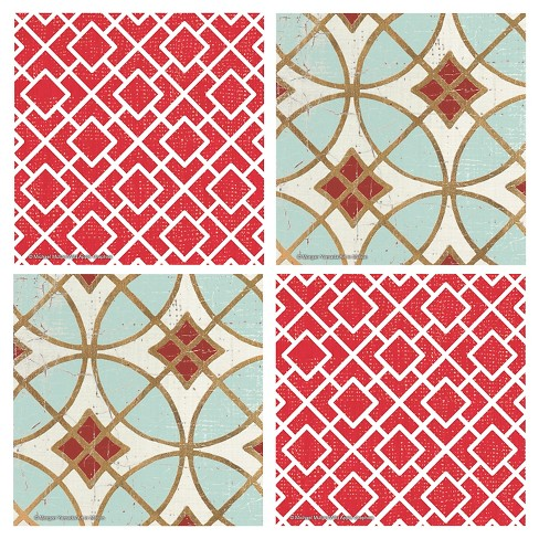 Thirstystone Red Lattice & Garden Tile 4 Piece Occasions Coaster Set - image 1 of 1