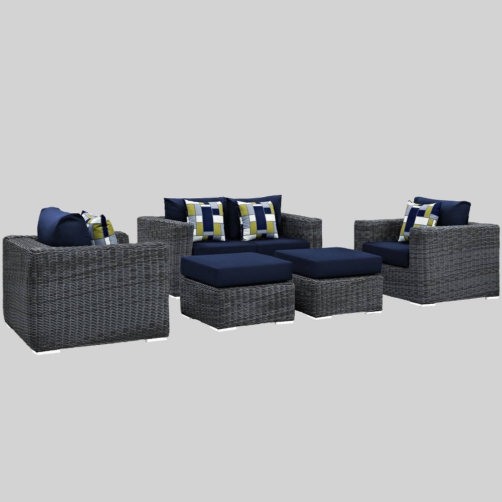 Summon 5pc Outdoor Patio Sunbrella Sectional Set - Navy (Blue) - Modway