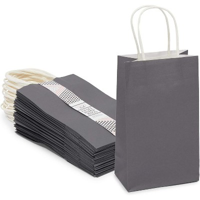 Sparkle and Bash 25-Pack Small Gift Bags with Handles, Grey (5 x 9 x 3 in)