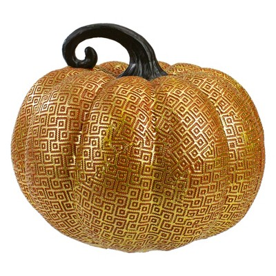 "Northlight 7.5"" Gold and Orange Textured Pumpkin Fall Decoration"