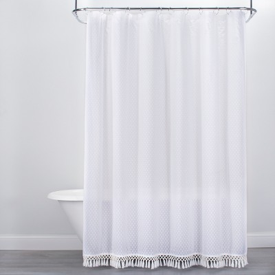 Textured Dot Fringed Shower Curtain White - Opalhouse™