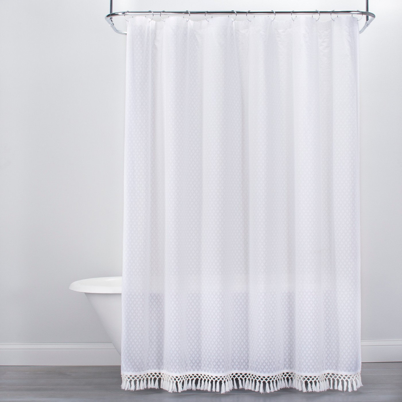 Textured Dot Fringed Shower Curtain White - Opalhouse™ - image 1 of 3