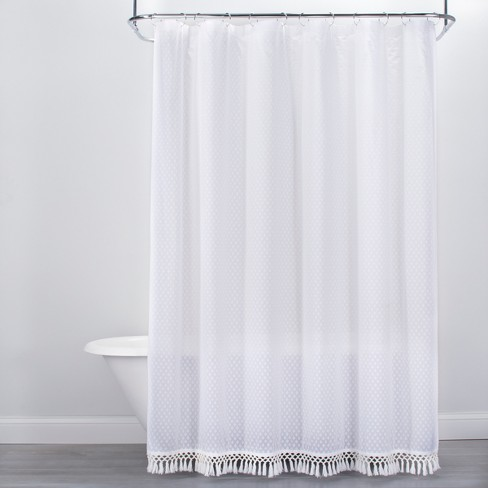 Textured Dot Fringed Shower Curtain White Opalhouse