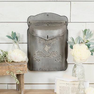Metal Postbox Decorative Box Gray 15.6  x 10.8  - VIP Home & Garden