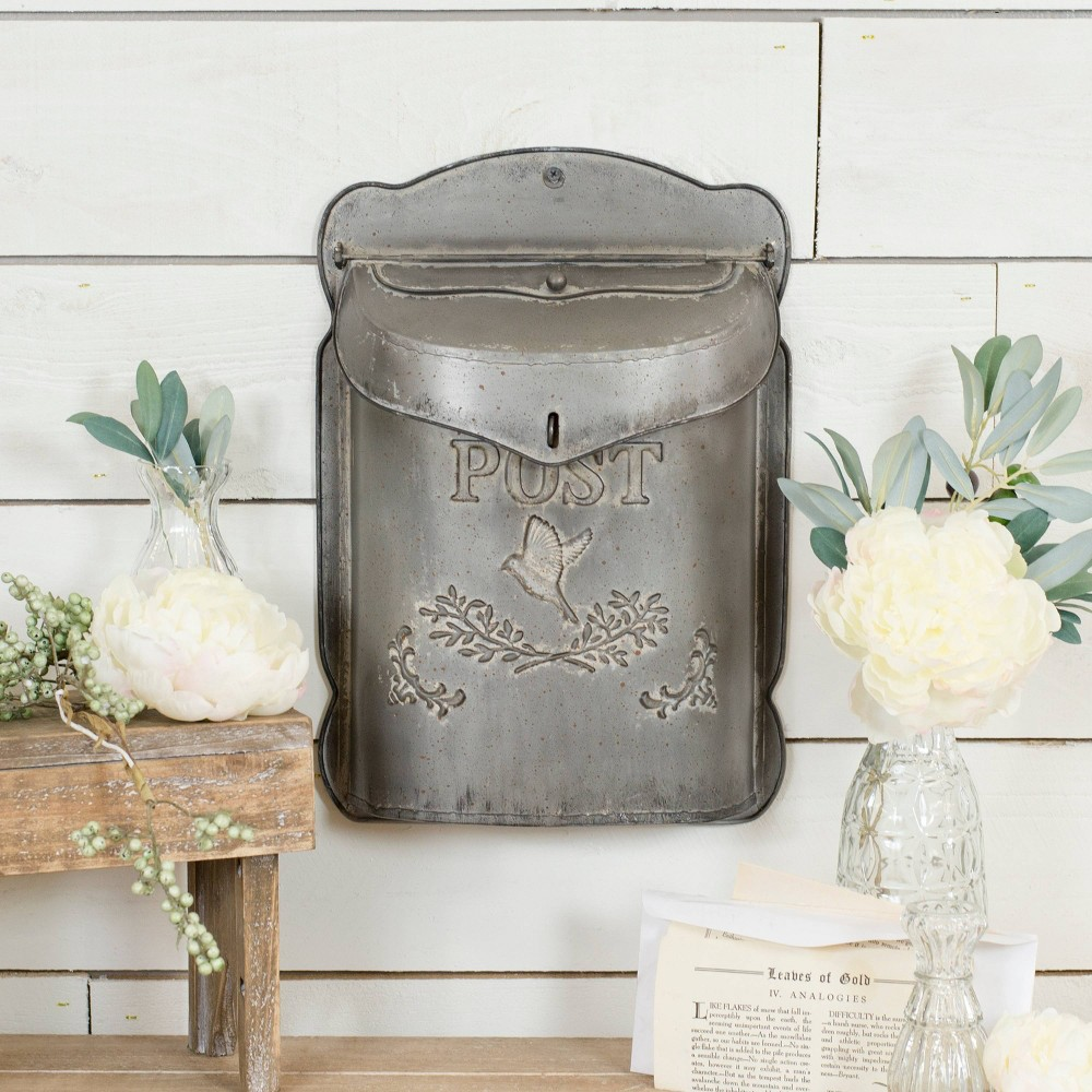 "Image of ""Metal Postbox Decorative Box Gray 15.6"""" x 10.8"""" - VIP Home & Garden"""