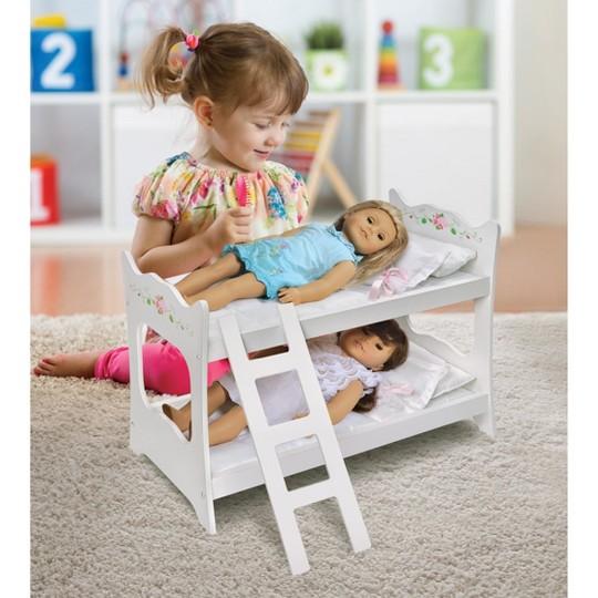 """Badger Basket White Rose 18"""" Doll Bunk Bed image number null"""
