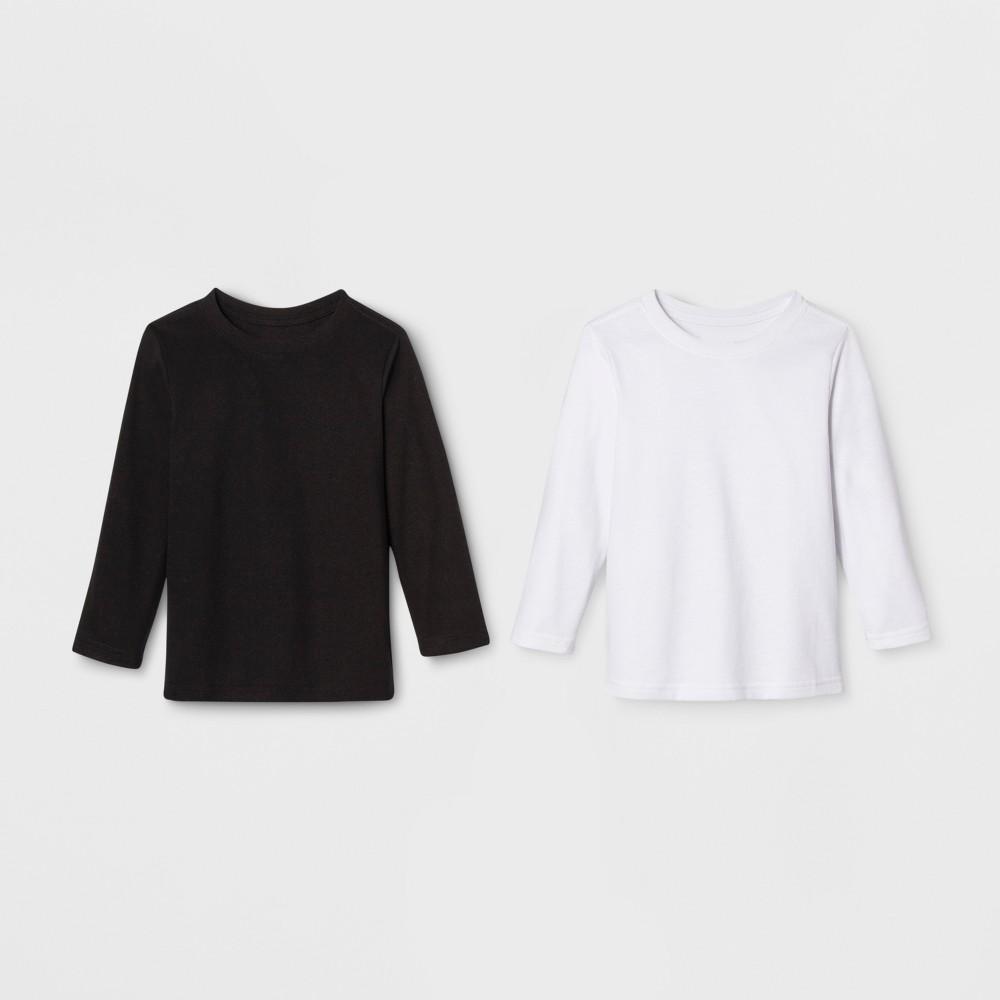Toddler Boys' Long Sleeve 2pk T-Shirt - Cat & Jack White/Black 3T
