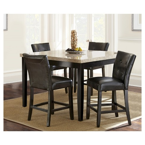 5 Piece Graham Counter Height Dining Table Set Wood Chocolate Steve Silver Company