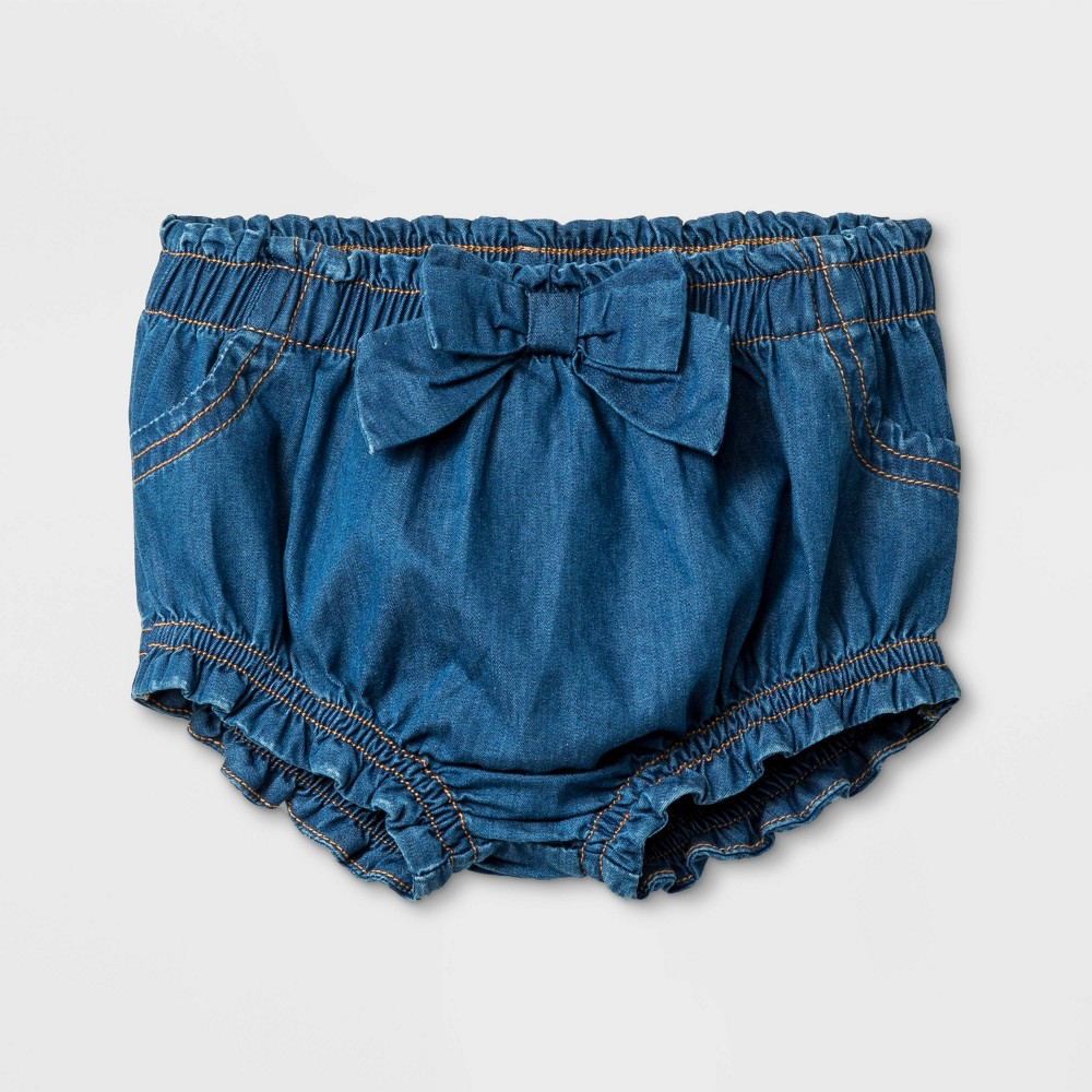 Image of Baby Girls' Jean Shorts with Bow - Cat & Jack Medium Wash 12M, Girl's, Blue