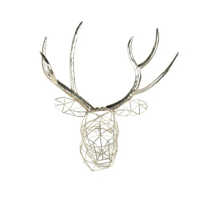 Kate & Laurel 20 x17.5  Milty Geometric Hanging Deer Head Metal Decorative Wall Sculpture Silver