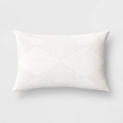 Cord Embroidered Geometric Lumbar Throw Pillow White - Project 62™