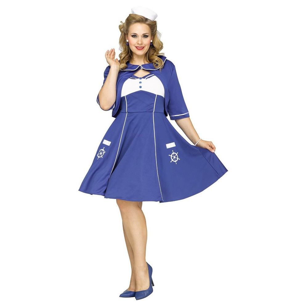 1940s Costumes- WW2, Nurse, Pinup, Rosie the Riveter Womens Sweet Sailin Plus Size Costume - 2X Size Xxl Multicolored $58.99 AT vintagedancer.com