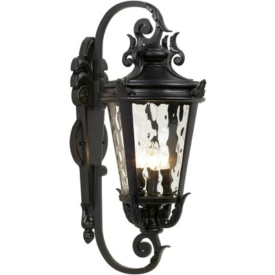"""John Timberland Mediterranean Outdoor Wall Light Fixture Textured Black Scroll 27 1/2"""" Clear Hammered Glass for Porch Patio House"""