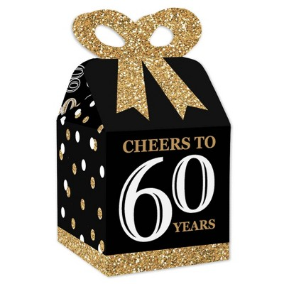 Big Dot of Happiness Adult 60th Birthday - Gold - Square Favor Gift Boxes - Birthday Party Bow Boxes - Set of 12