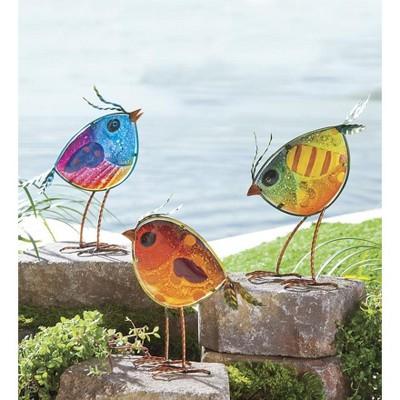 Wind & Weather Indoor/Outdoor Metal and Colorful Iridescent Glass Bird Statues, Set of 3