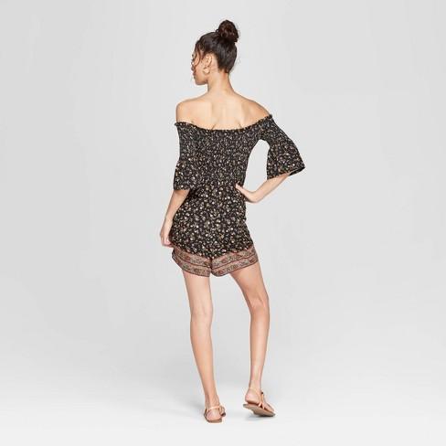 a52087f136c0 Women s Floral Print 3 4 Sleeve Off The Shoulder Smocked Knit Romper -  Xhilaration™ Black   Target
