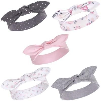 Hudson Baby Infant Girl Cotton Headbands 5pk, Pink Floral, 0-24 Months