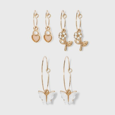 Shiny Gold with Acrylic Stones and Shell Hoop Earring Set 3pc - Wild Fable™ Gold