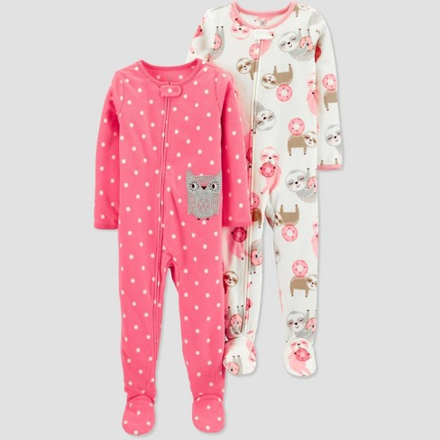 Toddler Girls' Owl Fleece One Piece Pajama - Just One You® made by carter's Pink - image 1 of 1