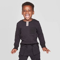 Toddler Boys' Specialty Quilted Jacquard Henley Pullover - Cat & Jack™ Black