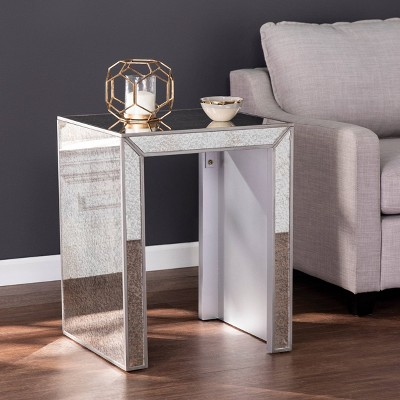 Masgrace Antique Mirrored End Table Silver   Aiden Lane by Shop This Collection
