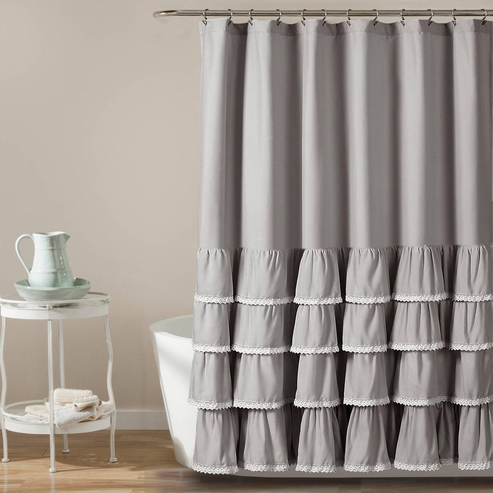 "Image of ""72""""x72"""" Ella Ruffle Detailed Shower Curtain Gray - Lush Décor"""