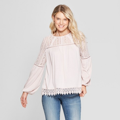 386c24860cb0a6 Women s Balloon Long Sleeve Peasant Top - Knox Rose™ Pink   Target