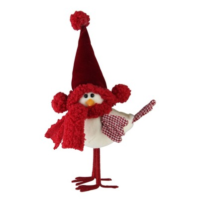 """Northlight 8.6"""" Standing White Bird with Red Scarf and Hat Christmas Tabletop Decoration"""