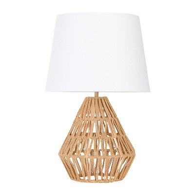 Diamond Shaped Rope Table Lamp with Empire Shade Brown - 3R Studios