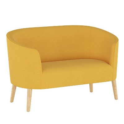 Curved Settee Linen French Yellow - Skyline Furniture