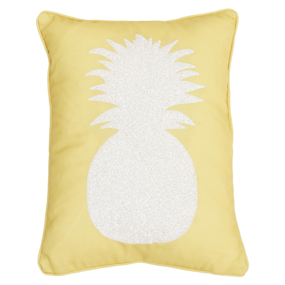 Pineapple Print Lumbar Throw Pillow Yellow - Decor Therapy