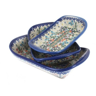 Blue Rose Polish Pottery Garden of Eden 3 Piece Rectangular Tray Set