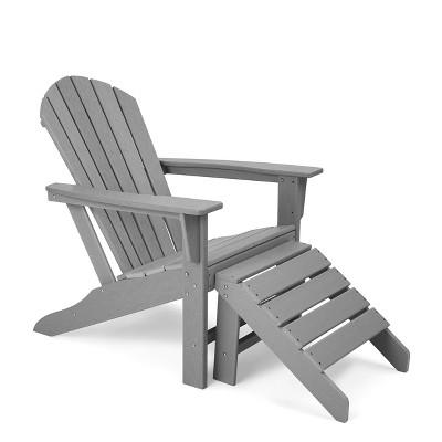 Plastic Resin Adirondack Chair with Ottoman - Gray - EDYO LIVING