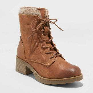 Women's Dez Microsuede Lace-Up Boots - Universal Thread™ Cognac 8