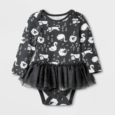 Baby Girls' Long Sleeve Tutu Bodysuit - Cat & Jack™ Gray Newborn