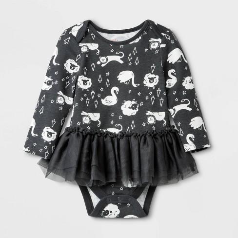Baby Girls' Long Sleeve Tutu Bodysuit - Cat & Jack™ Gray - image 1 of 1